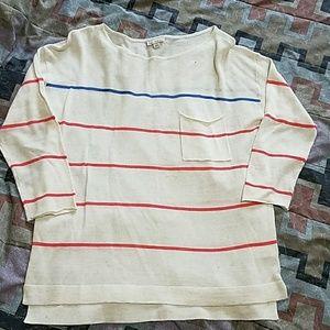 New Gap crew stripe beige pink sweater.  Small